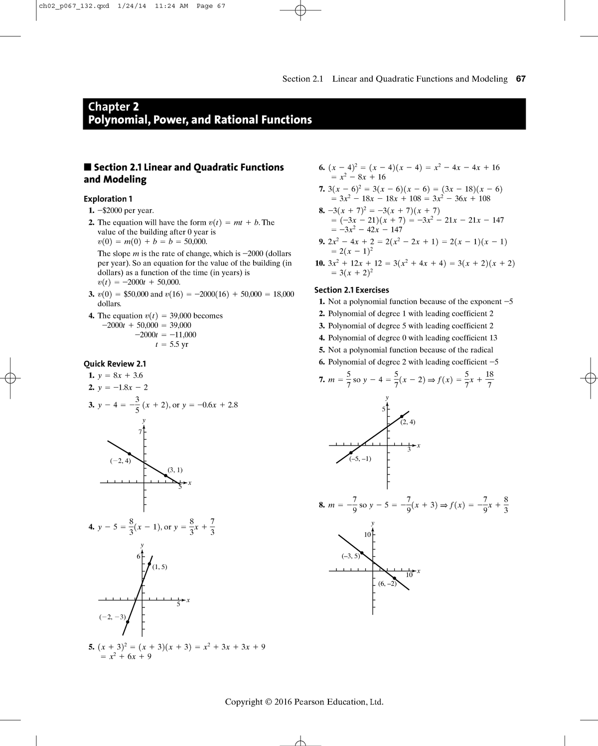 Chapter 2 - Solution manual Precalculus: Graphical Numerical