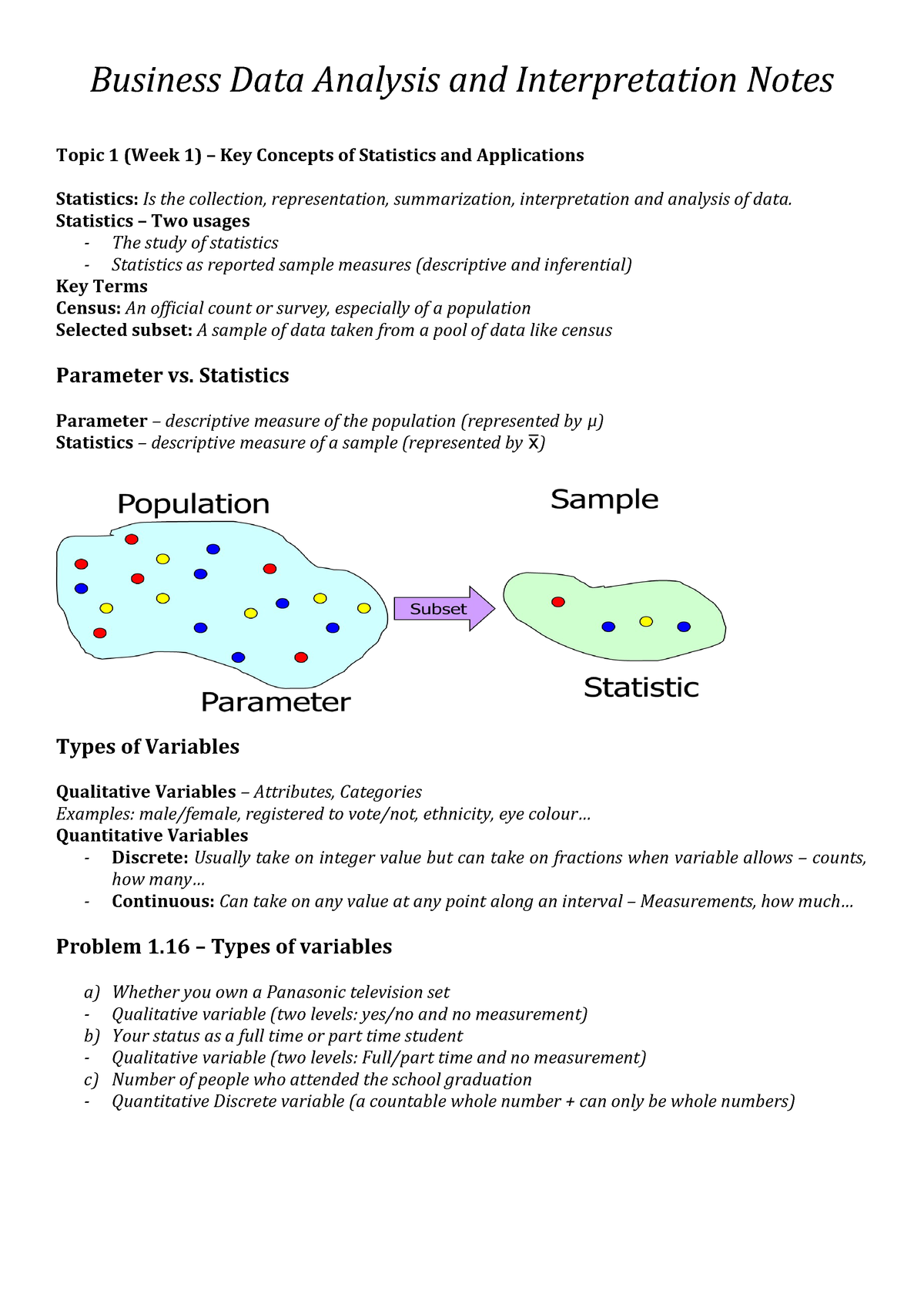 Business Data Analysis and Interpretation Notes - Lecture notes
