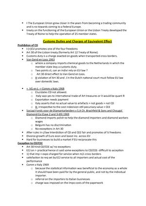 EU Customs Duties and Internal Taxation - SXL-1110-0: Public Law