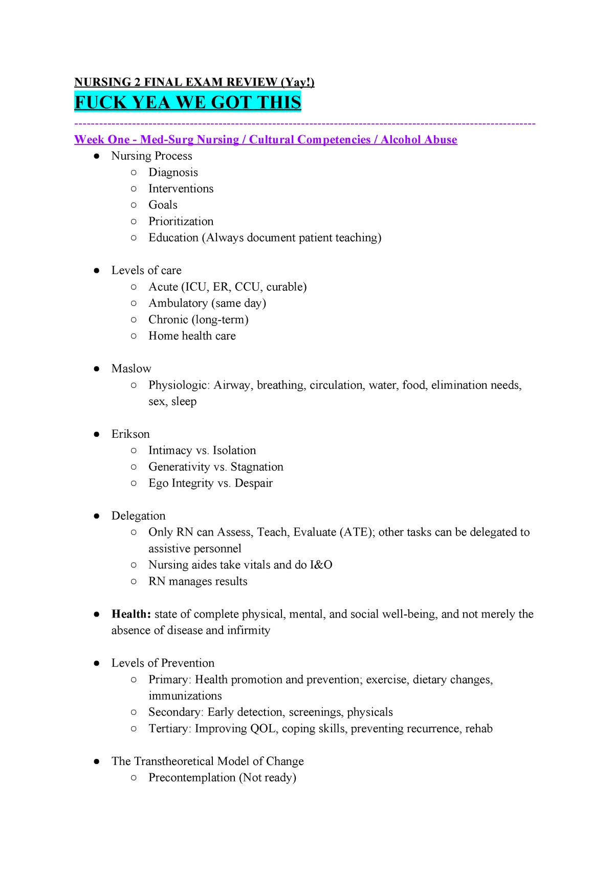 FINAL STUDY GUIDE Autumn semester 2018 - NUR 4130 - NSU