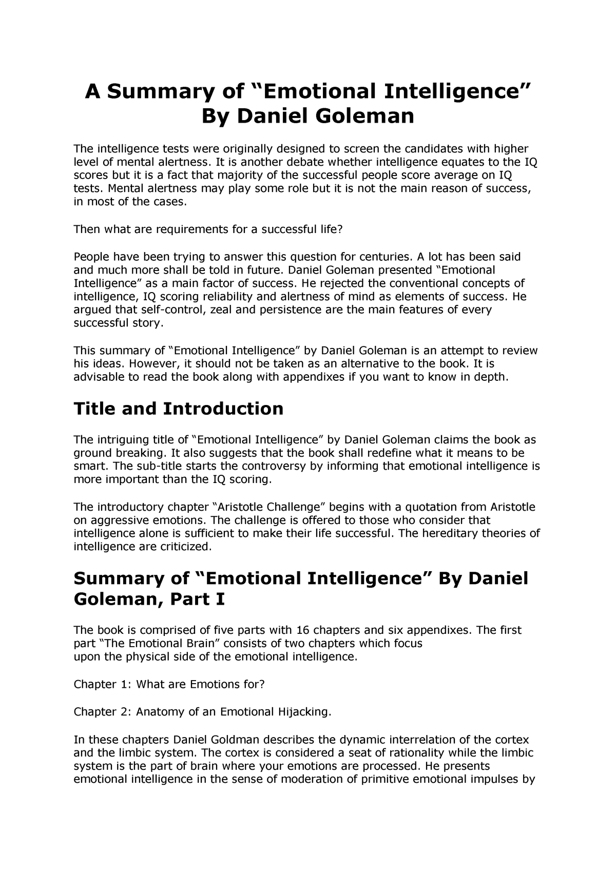 Daniel Goleman - Emotional Intelligence - Summary - PSYC 131 - StuDocu