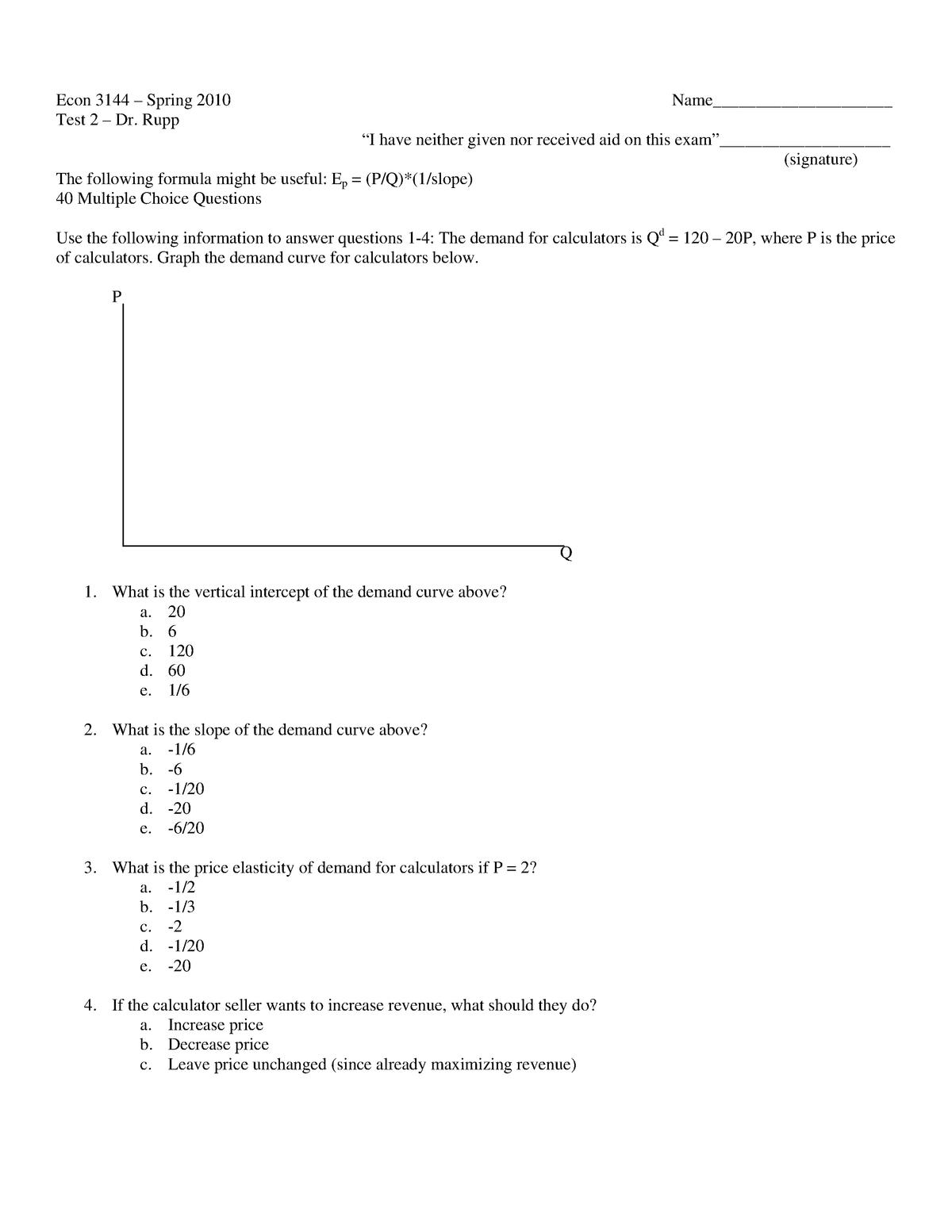 Exam 2010 - ECON 3144: Intermediate Microeconomics - StuDocu