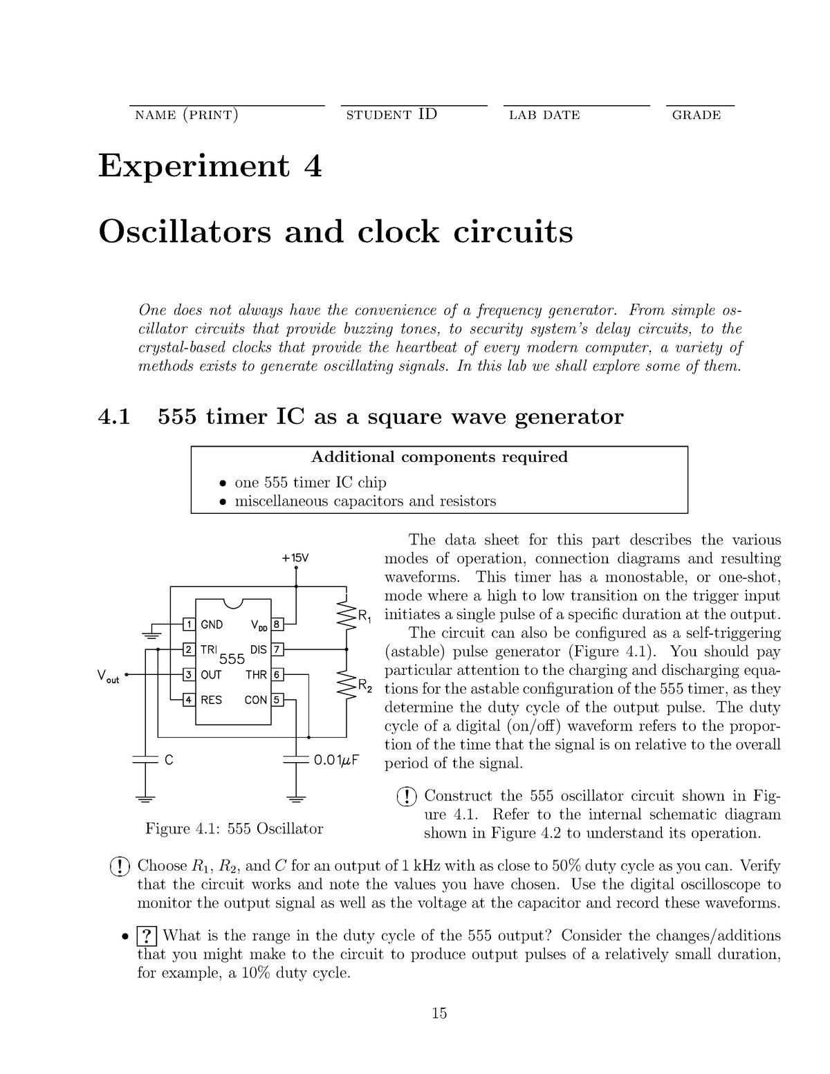 Experiment 4 Oscillators and clock circuits - PHYS 4P92
