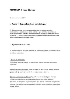 Tema 1. Generalidades y Embriologia - Anatomia II - StuDocu