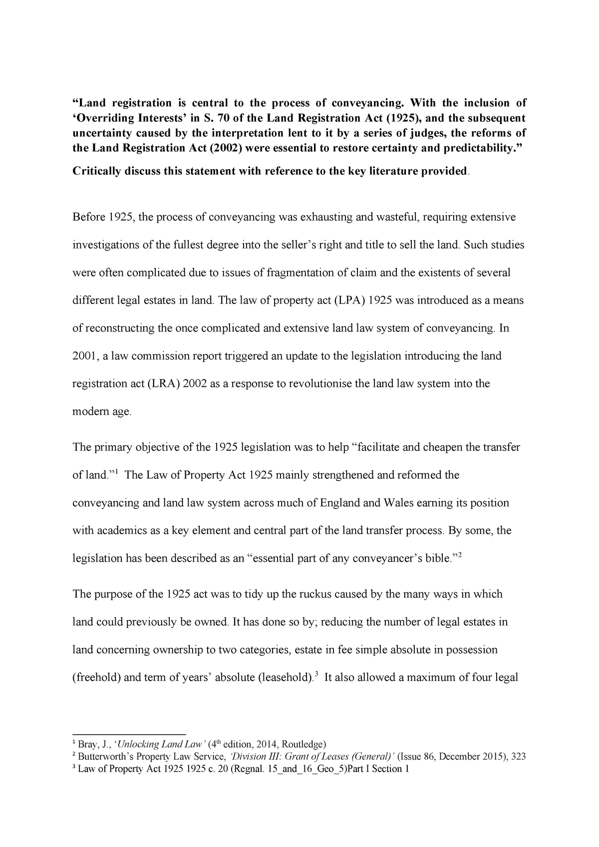 Land law essay final copy - Land Law LLBP 2205 - DMU - StuDocu