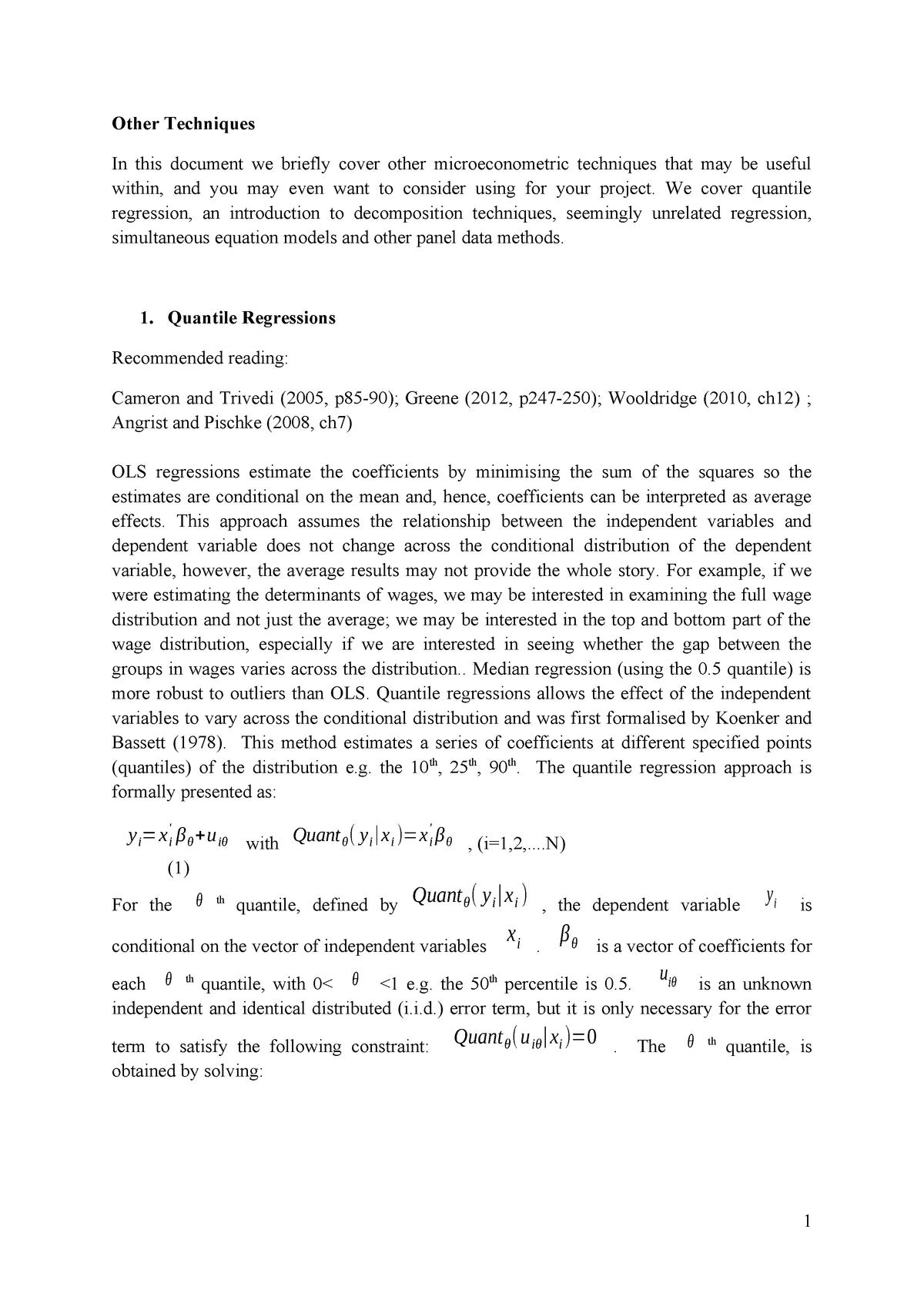 Other techniques - Lecture notes 10 - ECM 607: Econometerics - StuDocu