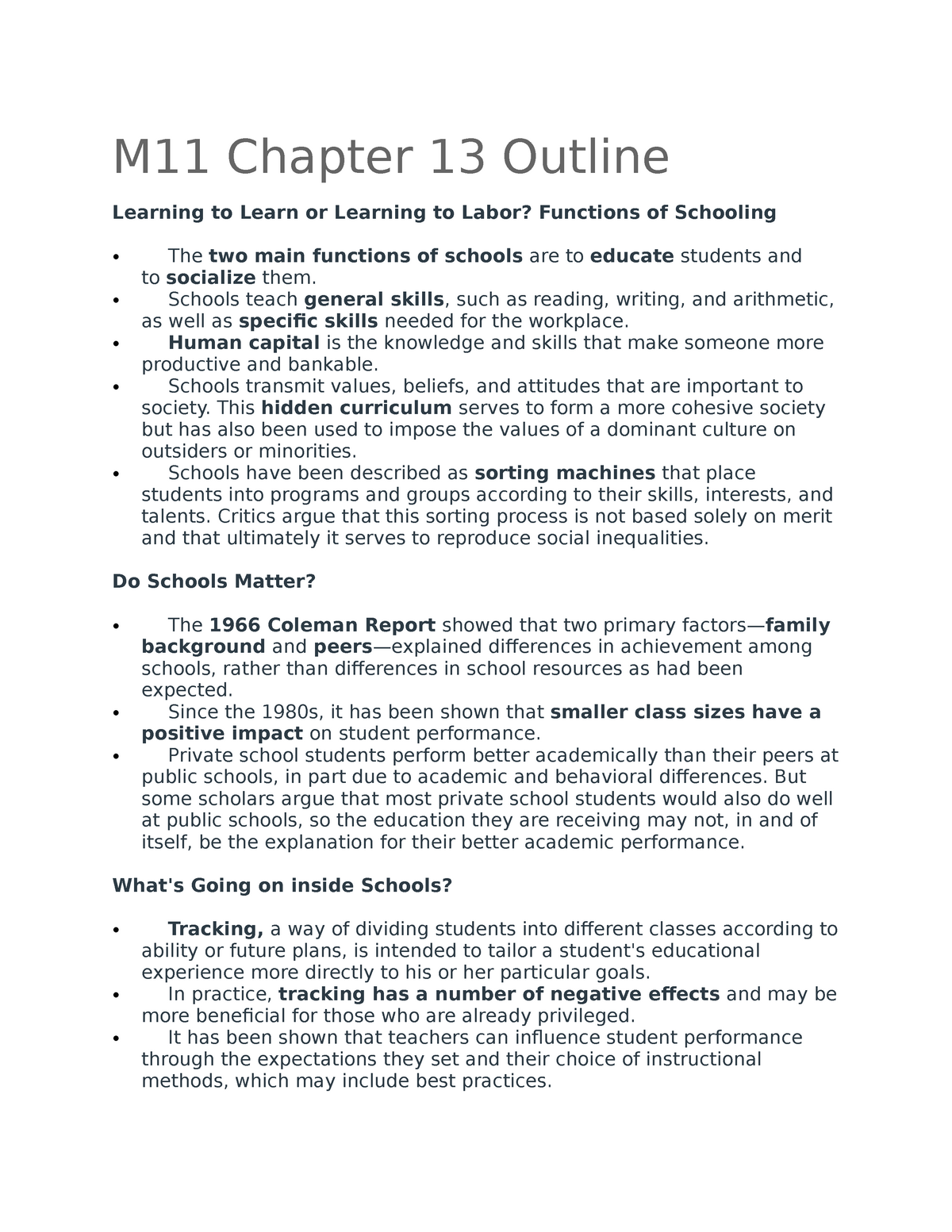 M11 Chapter 13 Outline - SOCI 111 Introduction to Sociology