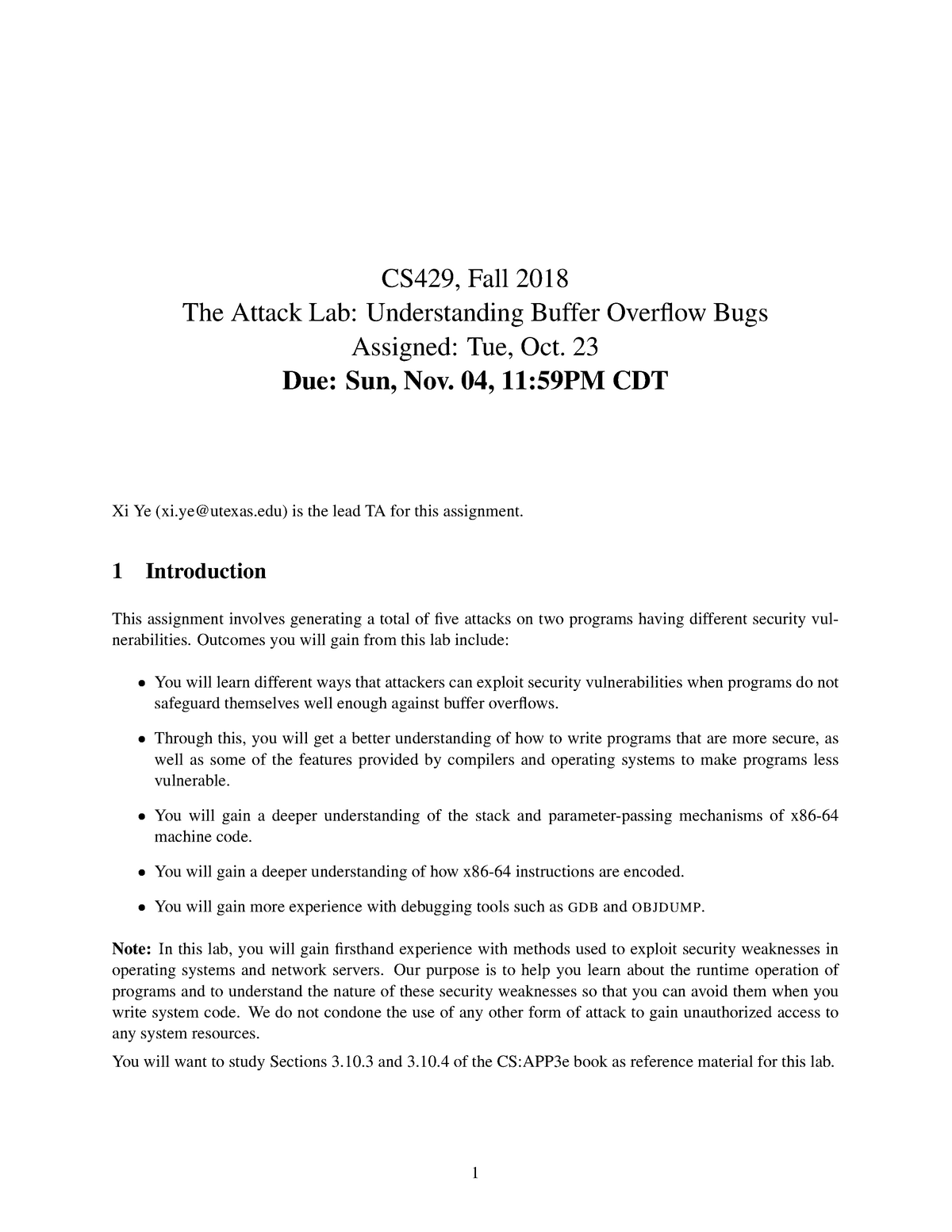 Attacklab - handout for last lab assignment - CS429