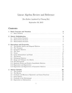 Linear Algebra Review and Reference - 10 601 - CMU - StuDocu