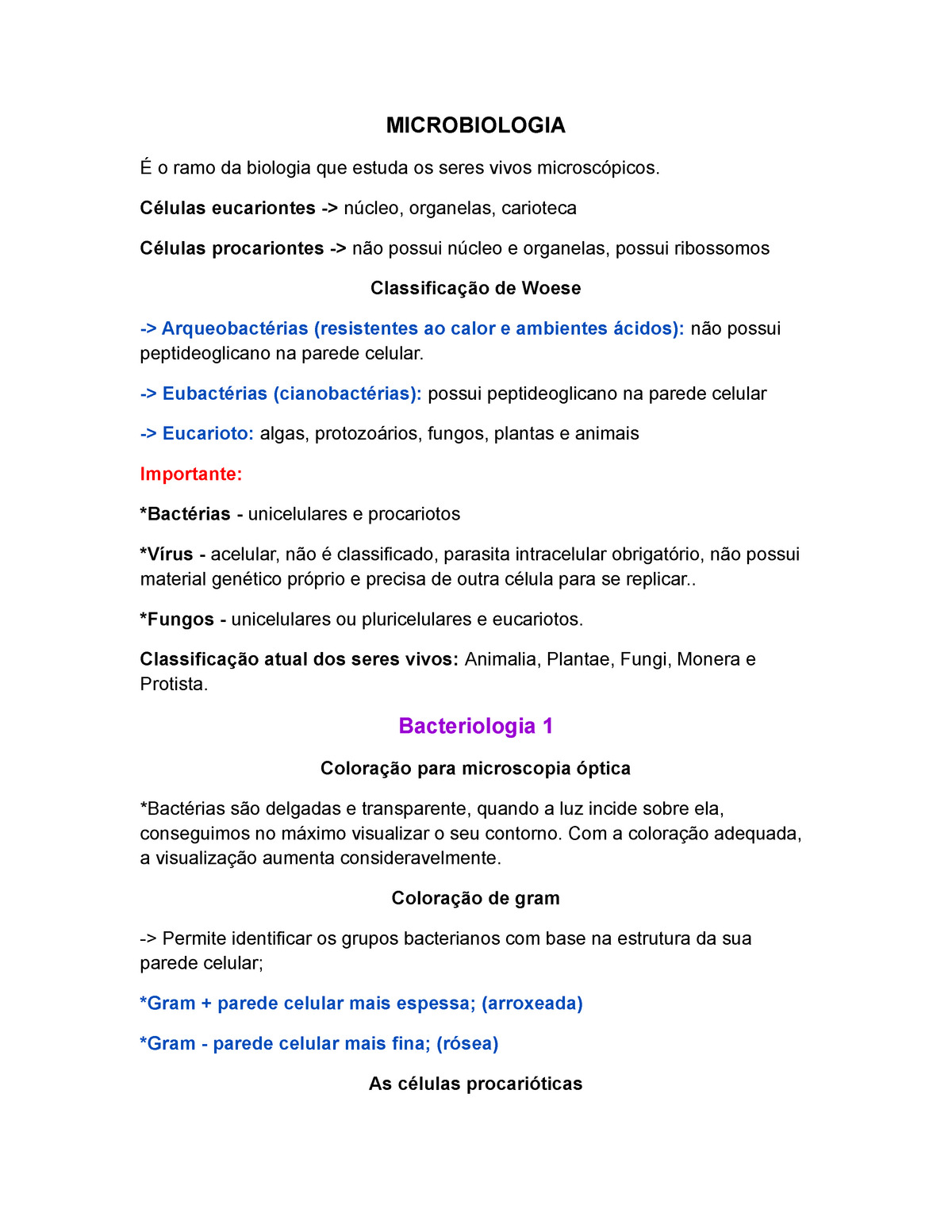 Microbiologia Resumo Enfermagem Enf88 Uva Studocu