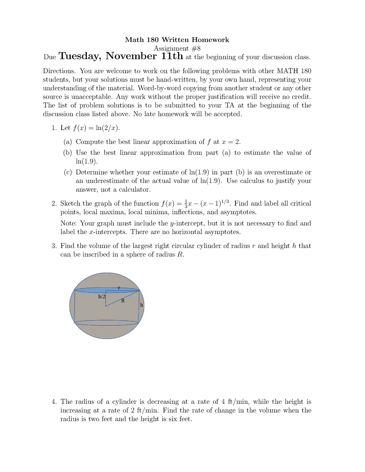 Math 180 Written Homework 8 - MATH 180: Calculus I - StuDocu