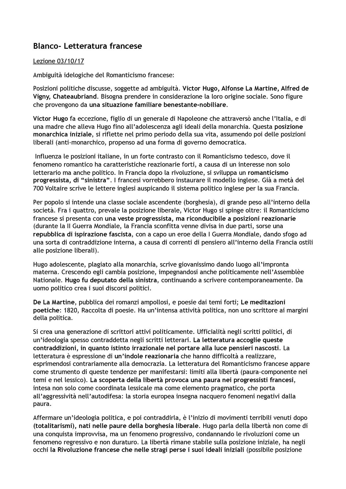 Alla Francese Posizione blanco - letteratura francese - 1026924 - uniroma1 - studocu