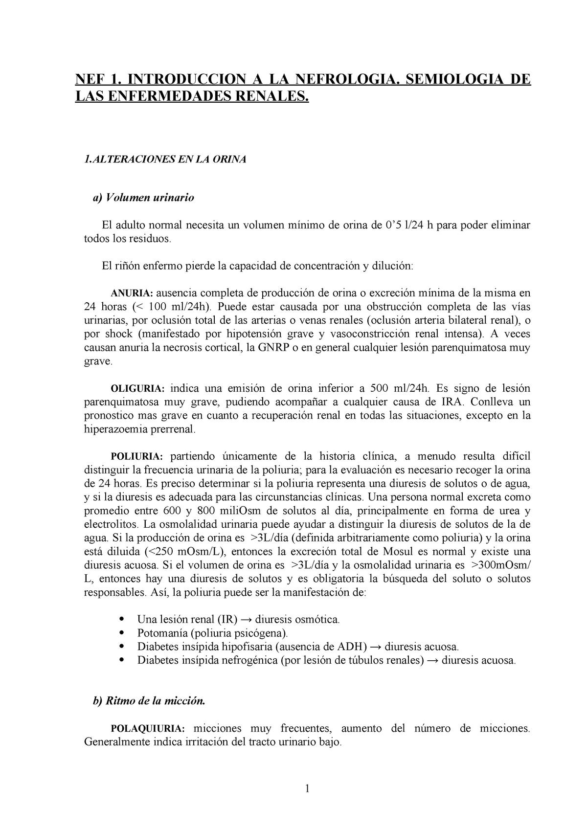 producción de orina de bajo volumen