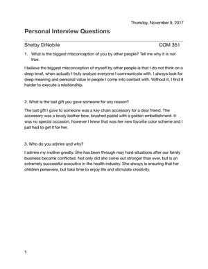 Personal Interview Questions - COM 351 - COM 351
