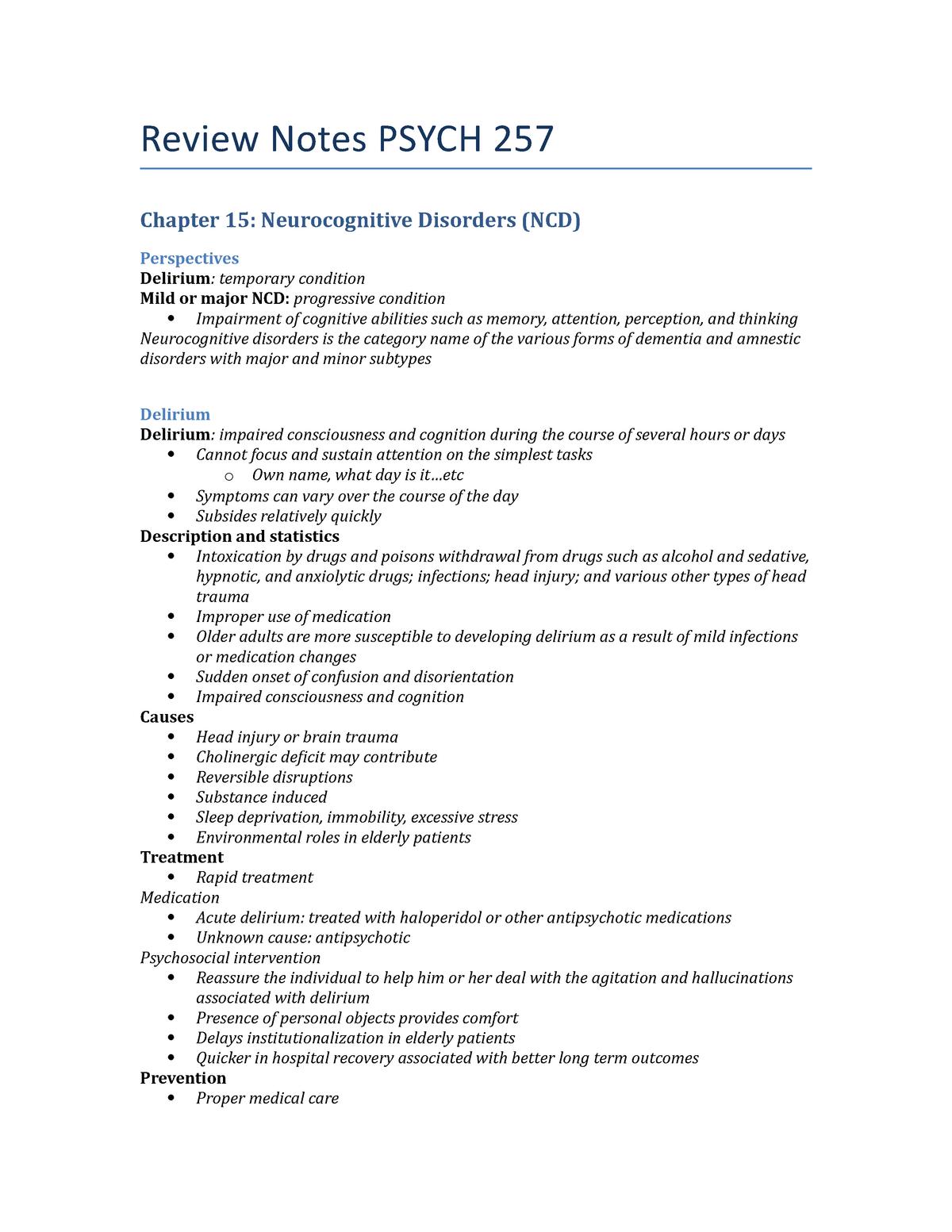 Review Notes Psych 257 - Psych 257: Psychopathology - StuDocu