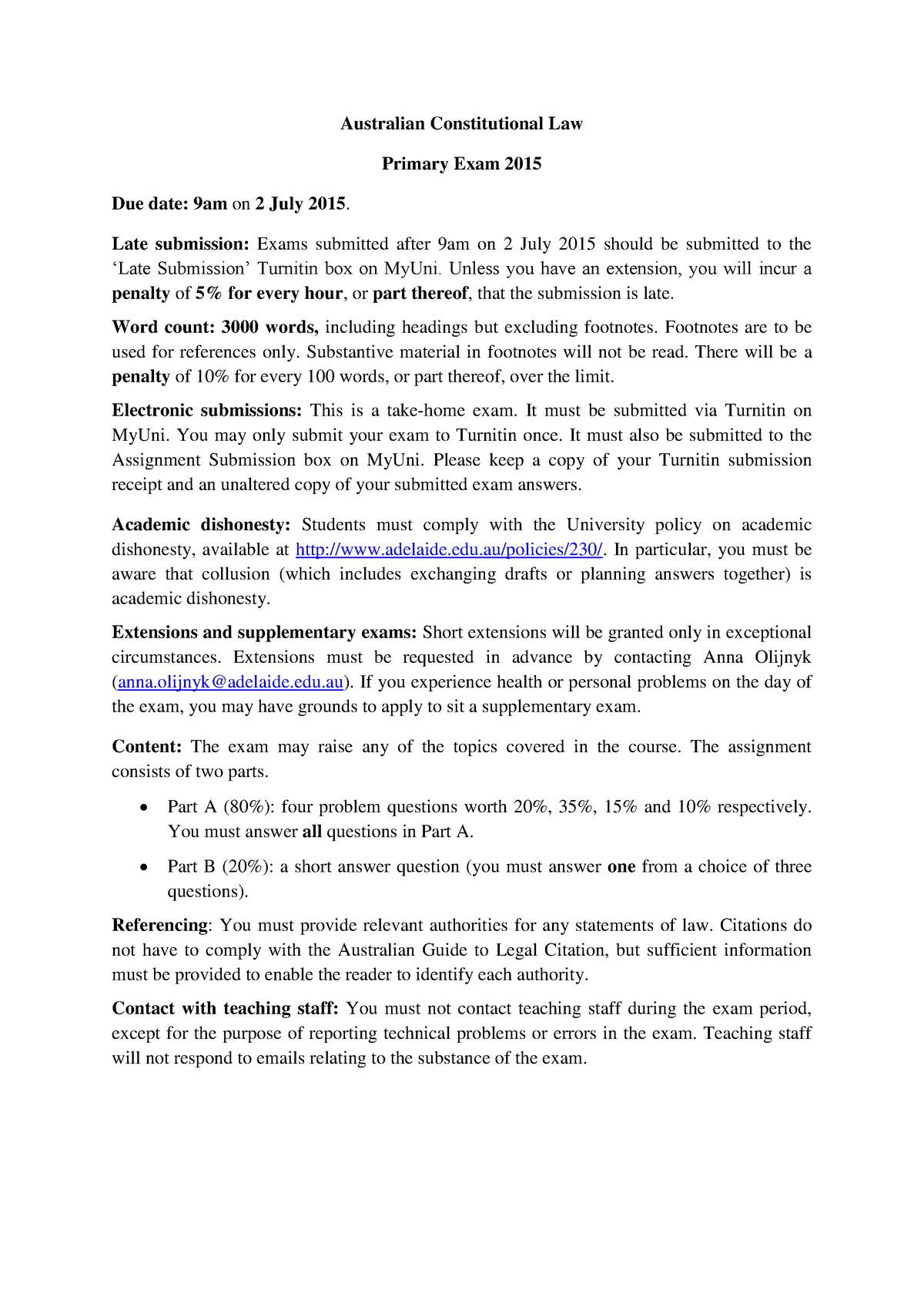Exam 2015 - LAW 2501: Australian Constitutional Law - StuDocu