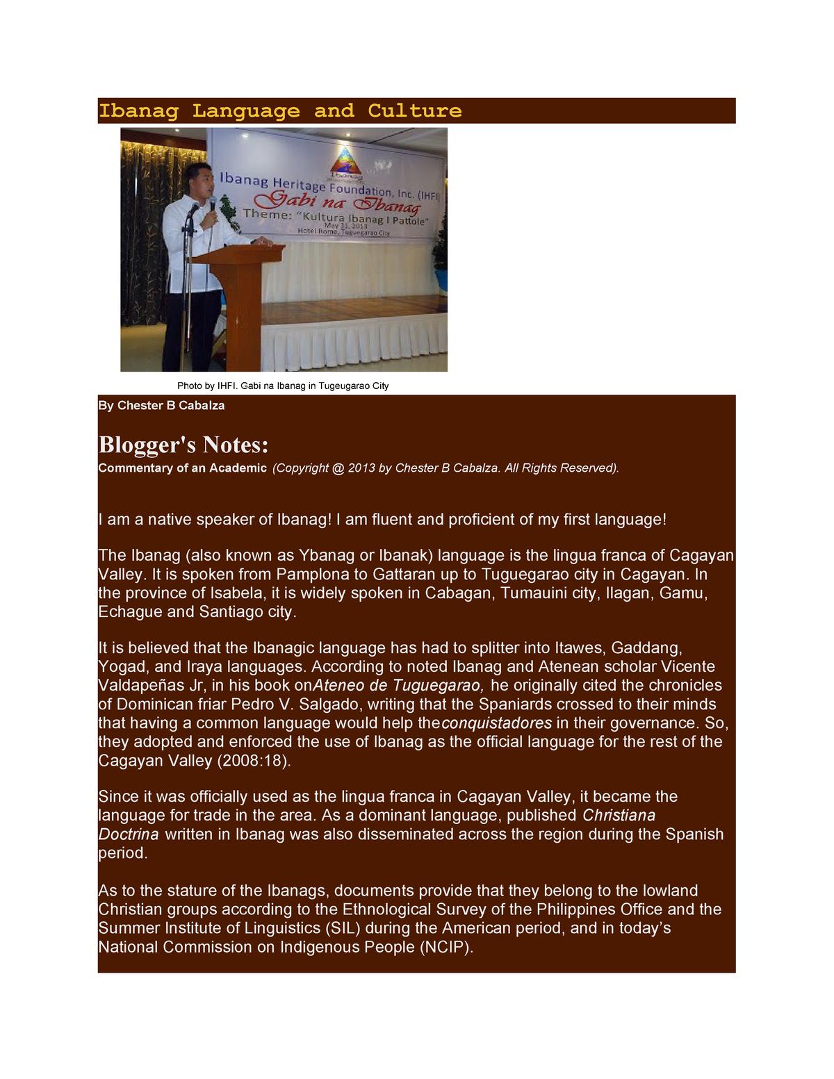 Ibanag Language and Culture - Bachelor of Arts b257 - StuDocu