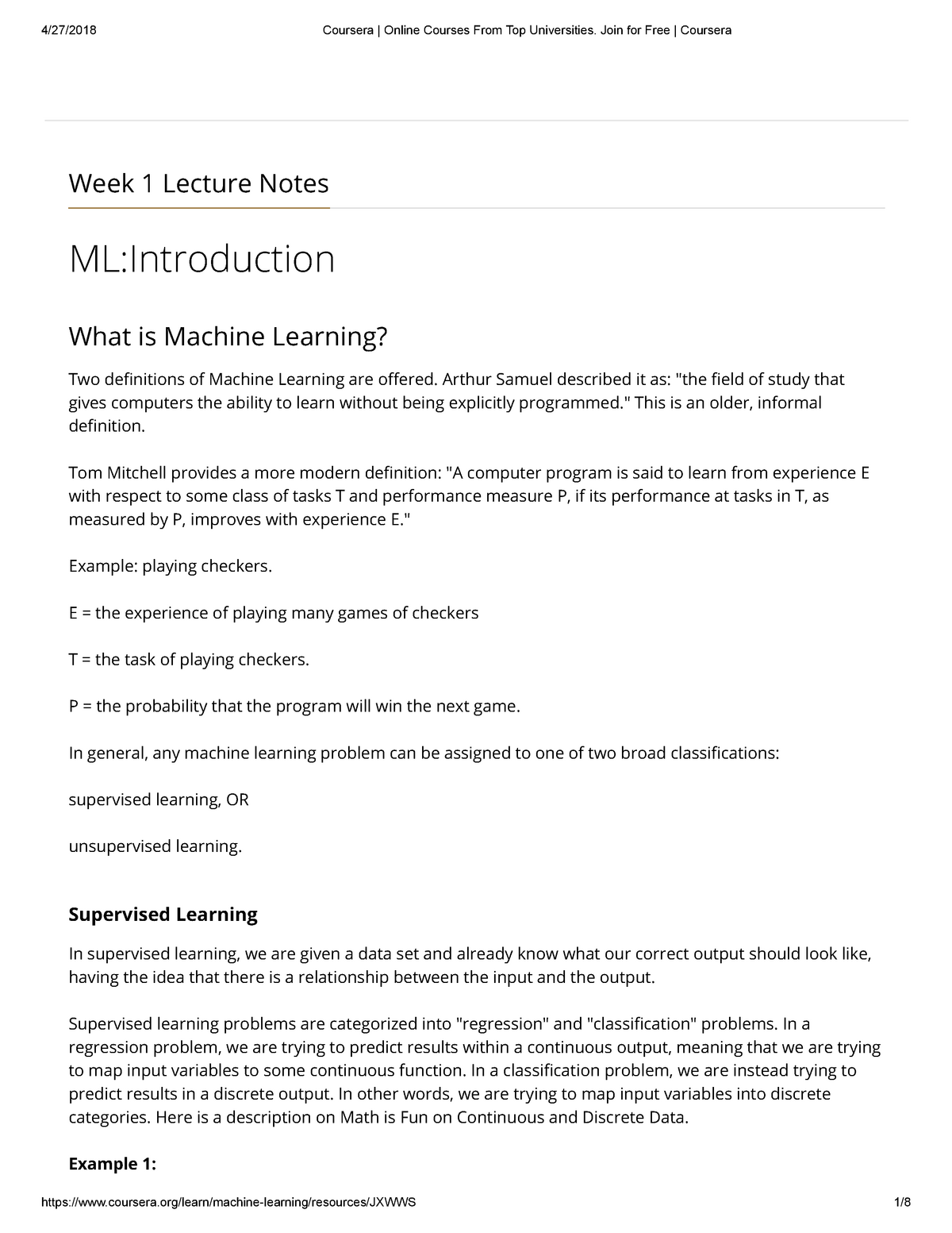 Week 1 Lecture Notes - CS 229: Machine Learning - StuDocu