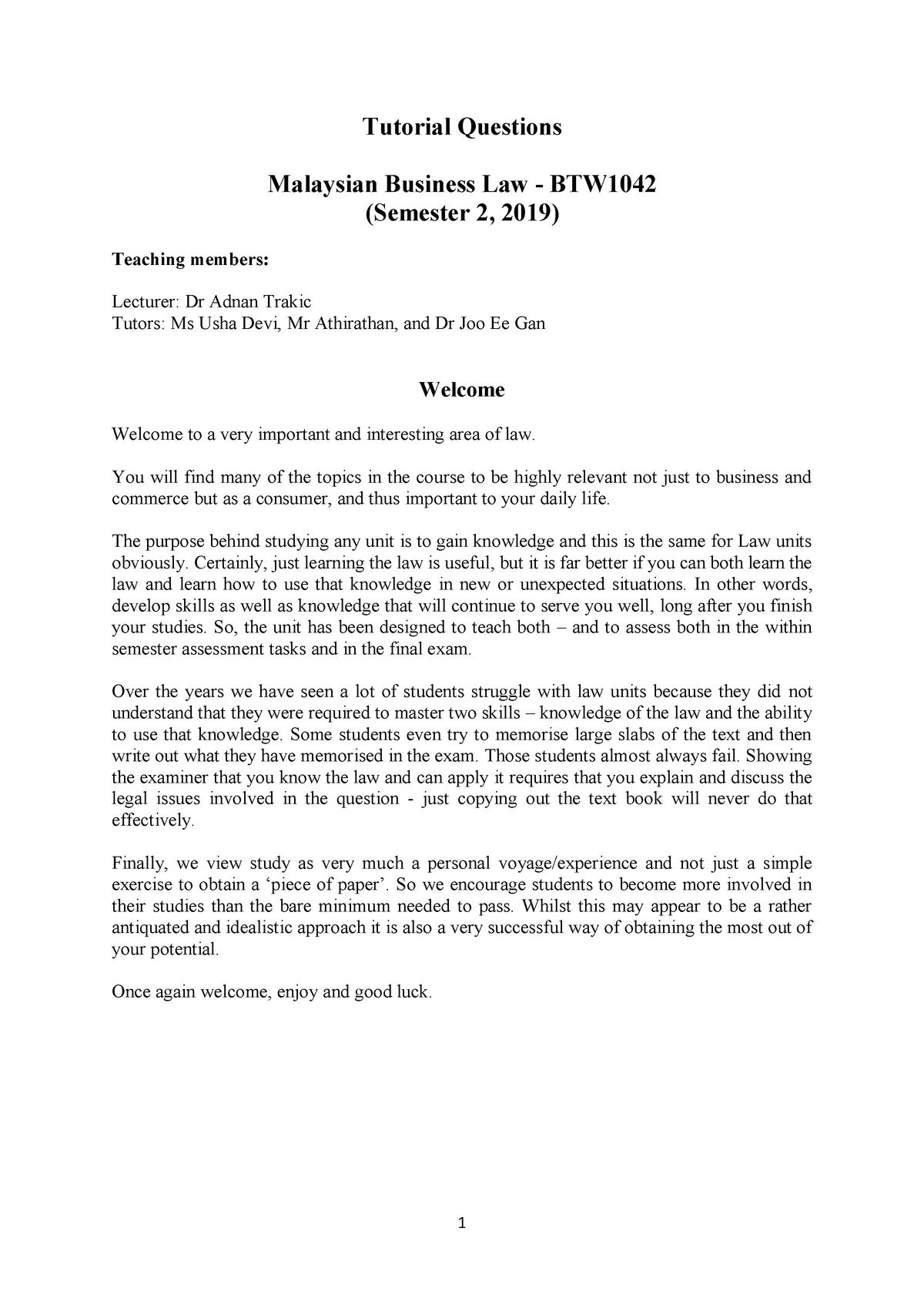 All Tutorial Questions 2019 Semester 2 - BTW1042 - Monash