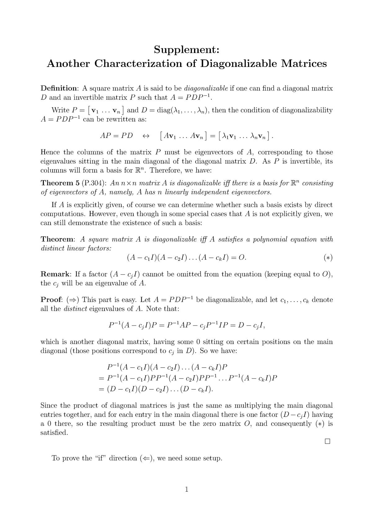 05 diag - Lee, Wing Lung - MATH 2111: Matrix Algebra and