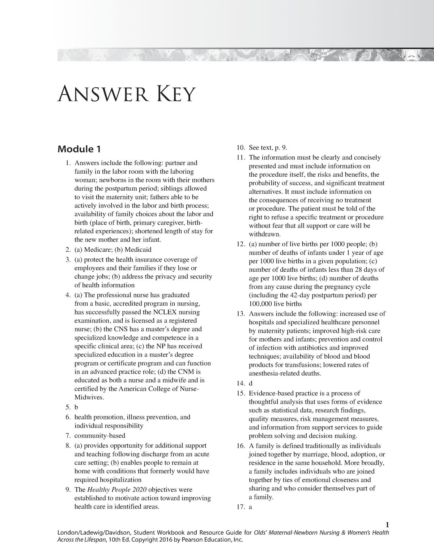 Olds Workbook answer Key - NGR 6941 Practicum In Nursing