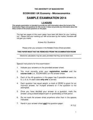 Exam 2014 - ECON10081: The UK Economy - Microeconomics - StuDocu
