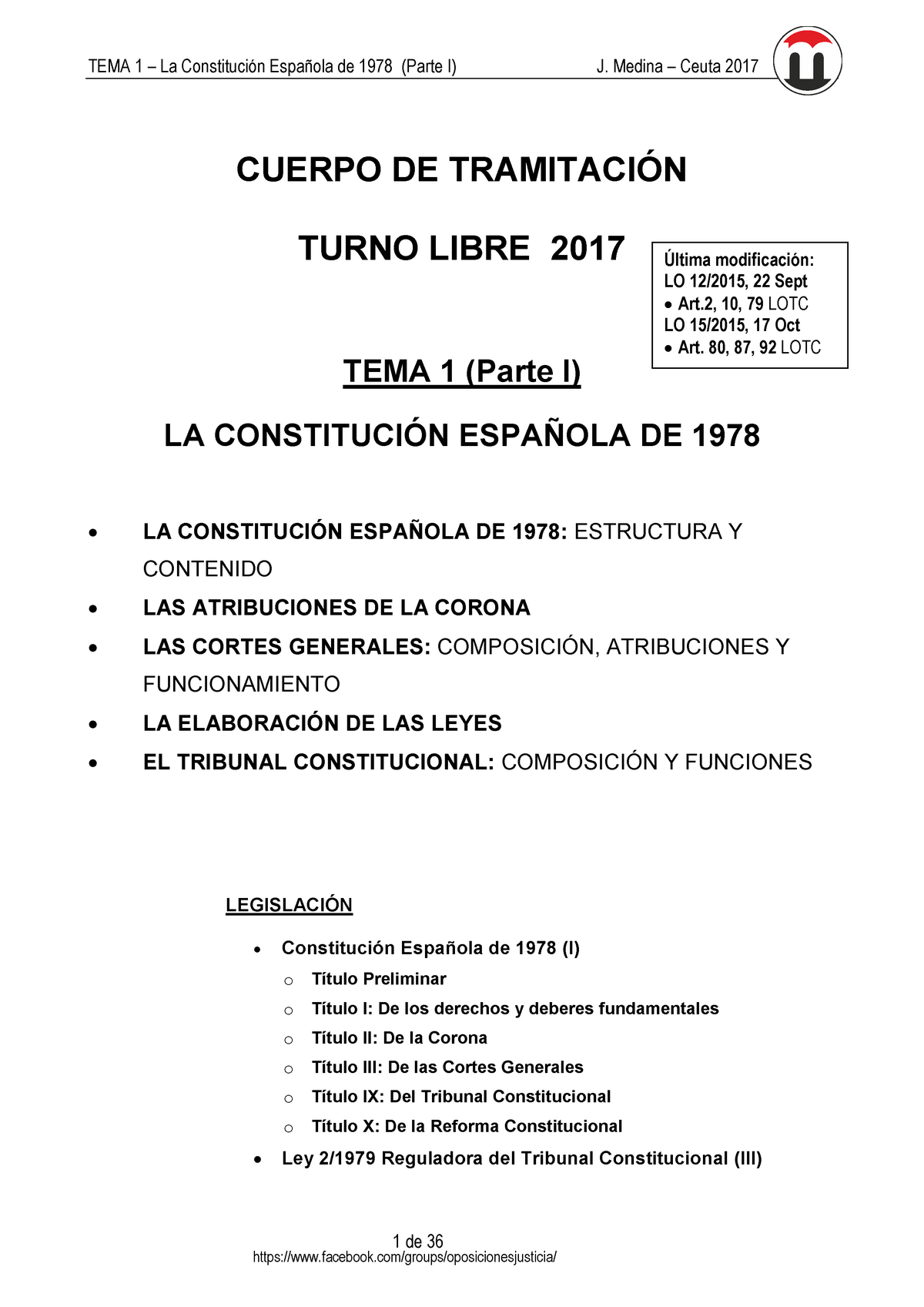 Tema 1 Constitucion Española 50317 Uclm Studocu