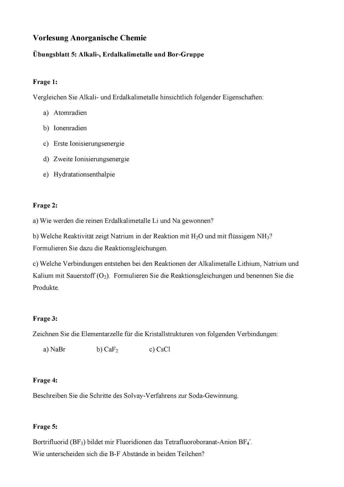 2014 Anorg Chemie Uebungsblatt 005 Lsf88587 Einführung