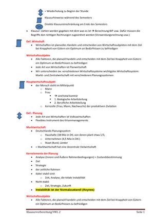 VWL II Kleinwächtler Klausurvorbereitung - VWL 2
