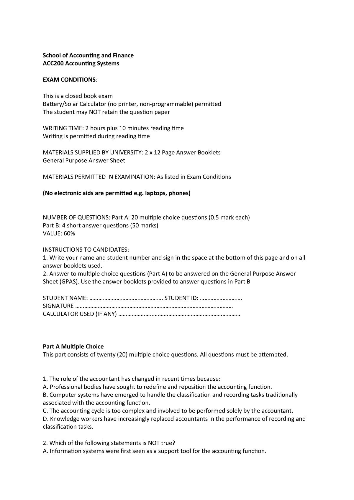 Sample/practice exam 2017, questions - ACC200 - CSU - StuDocu