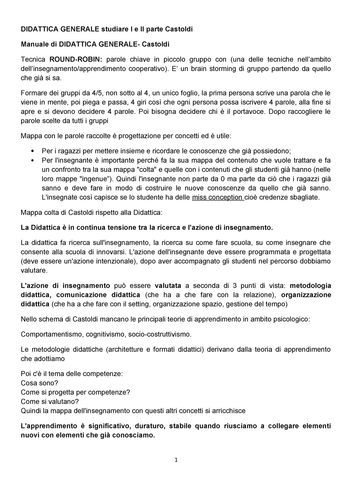 eb21401d9b Didattica Generale- manuale CASTOLDi per24cfu Morepef2018 - 2A0163:  Didattica generale - StuDocu