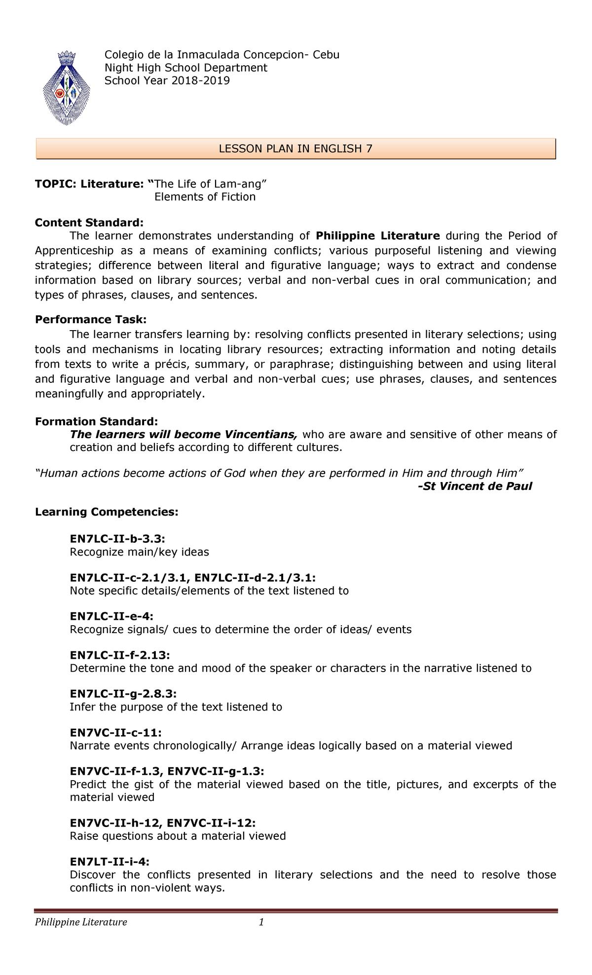 7-LP-1STWK - Grade 7 lesson plan - BSED - StuDocu