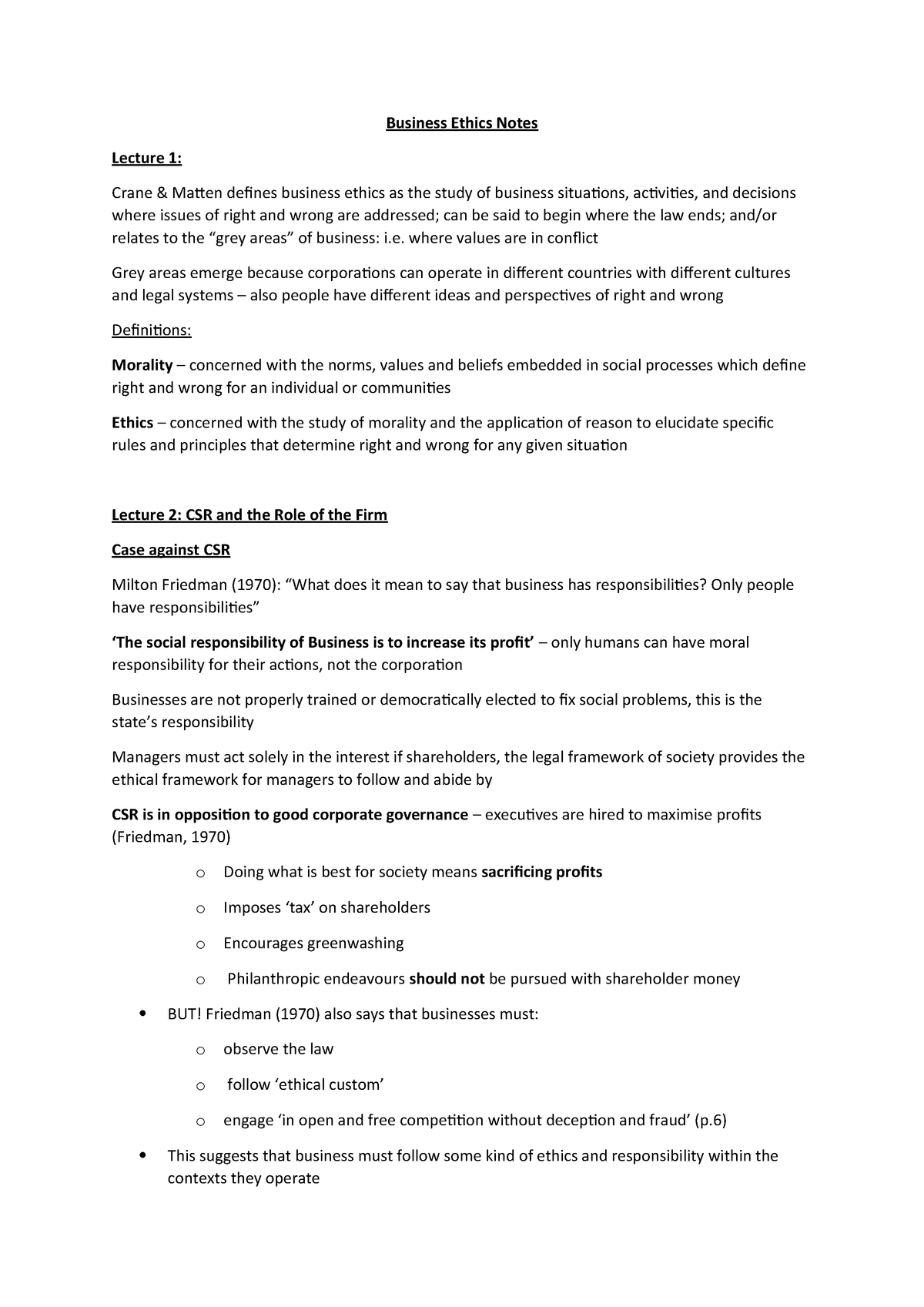 Business Ethics Notes Nottingham Studocu