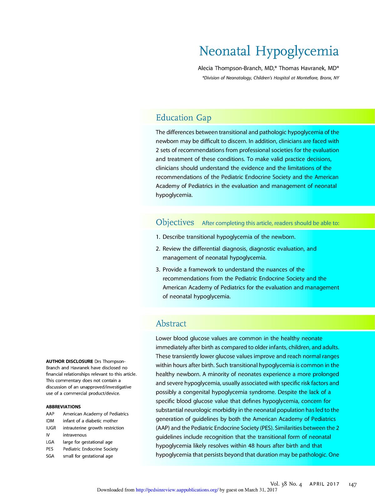 2017 New revie hupoglicemia neonatal pdf - neonatos: Neonatos - StuDocu