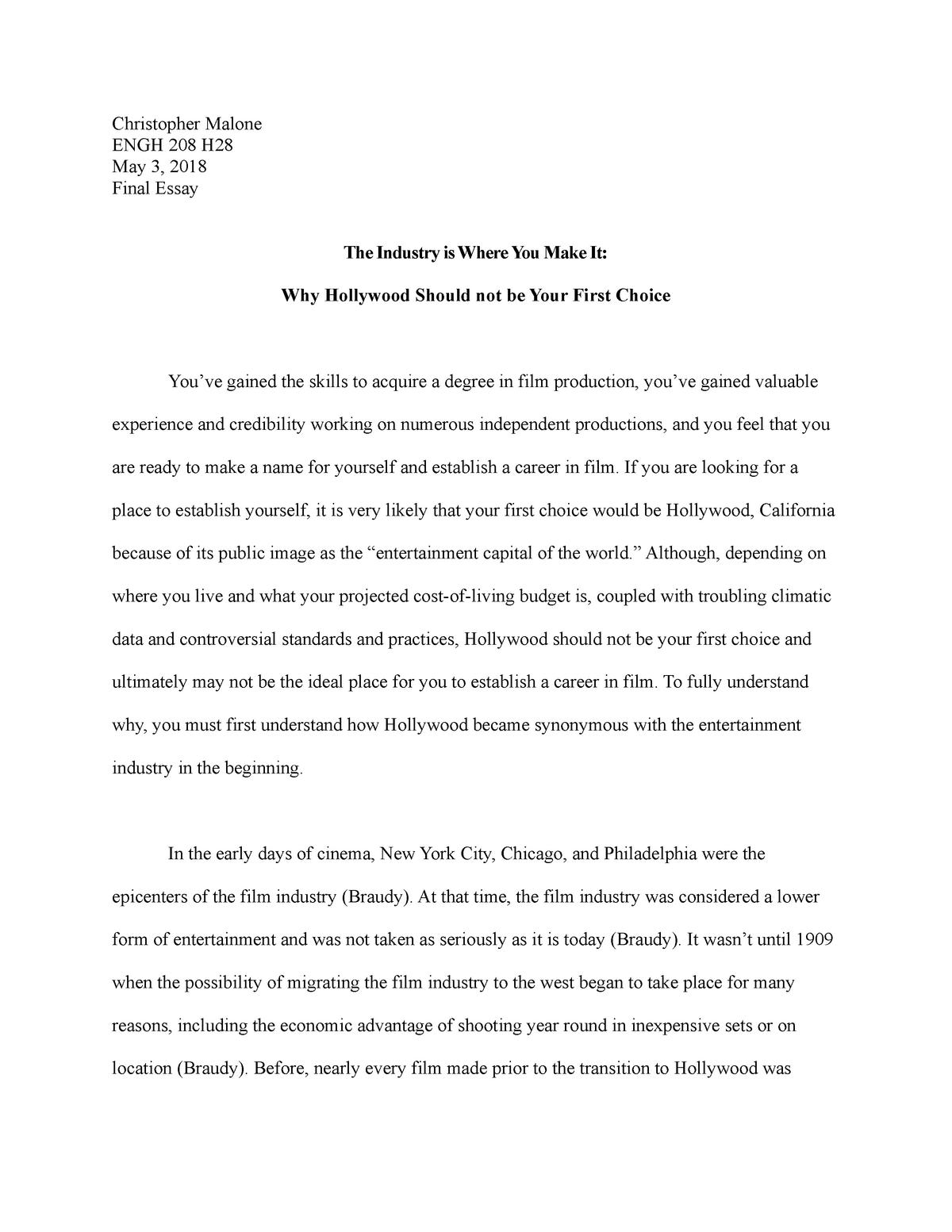 film history essay