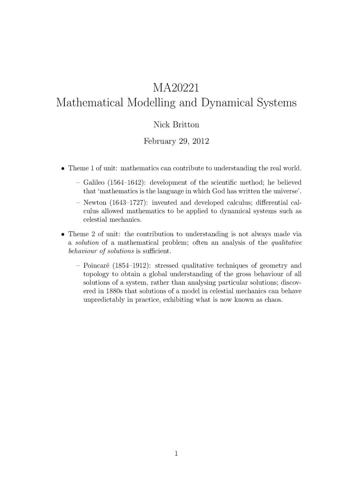 MA20221 2011-2012 Lecture Notes (ALL) - Bath - StuDocu