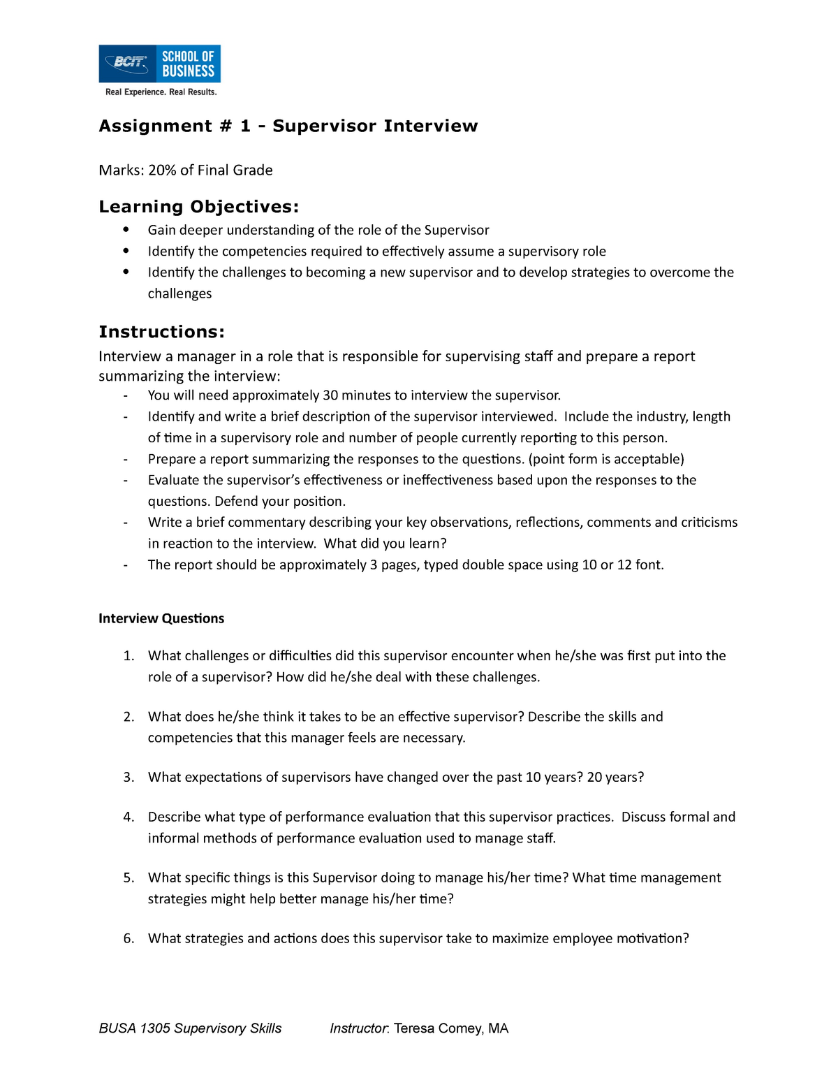 Seminar Assignments, Supervisor Interview - BUSA 1305
