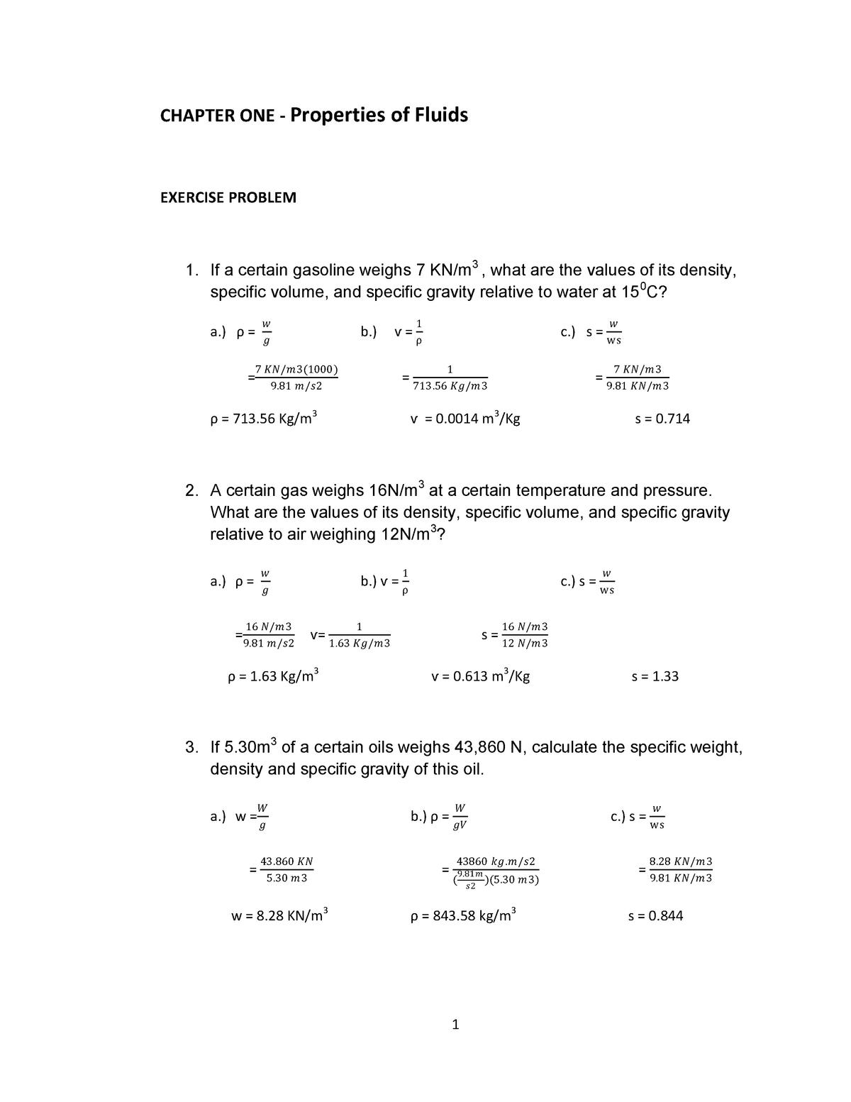 Chapter ONE -Properties of Fluids Exerci - EMM 242 - StuDocu
