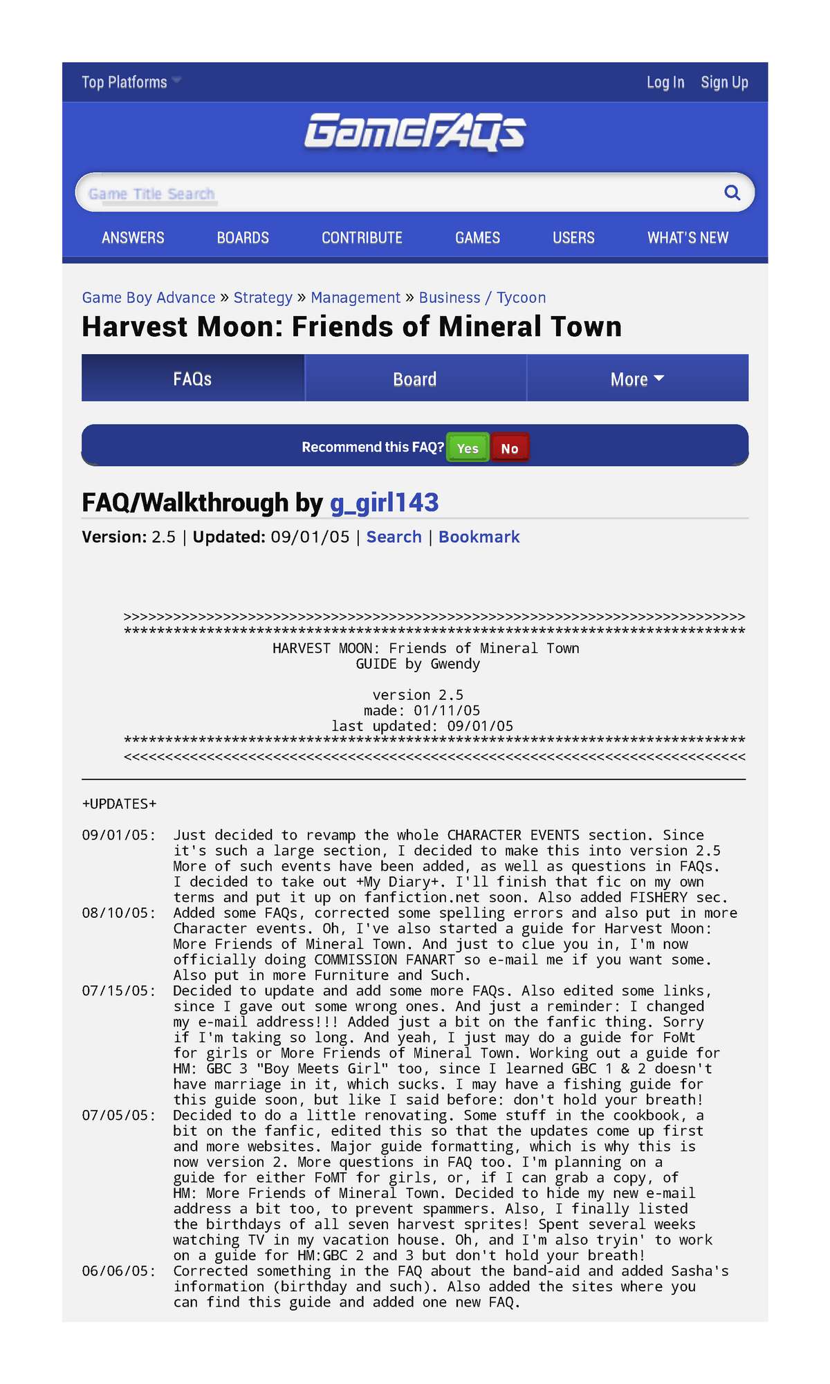 Harvest Moon - Friend's of Mineral Town - Oi: Yis - StuDocu
