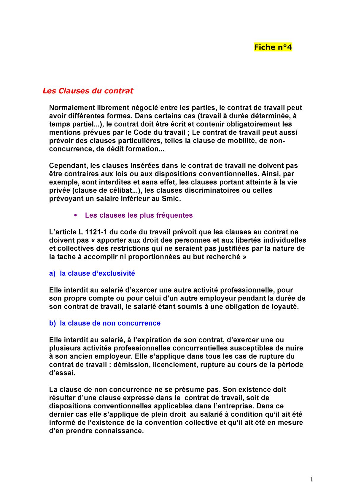 Fiche N 4 Les Clauses Du Contrat Droit Des Societes Studocu