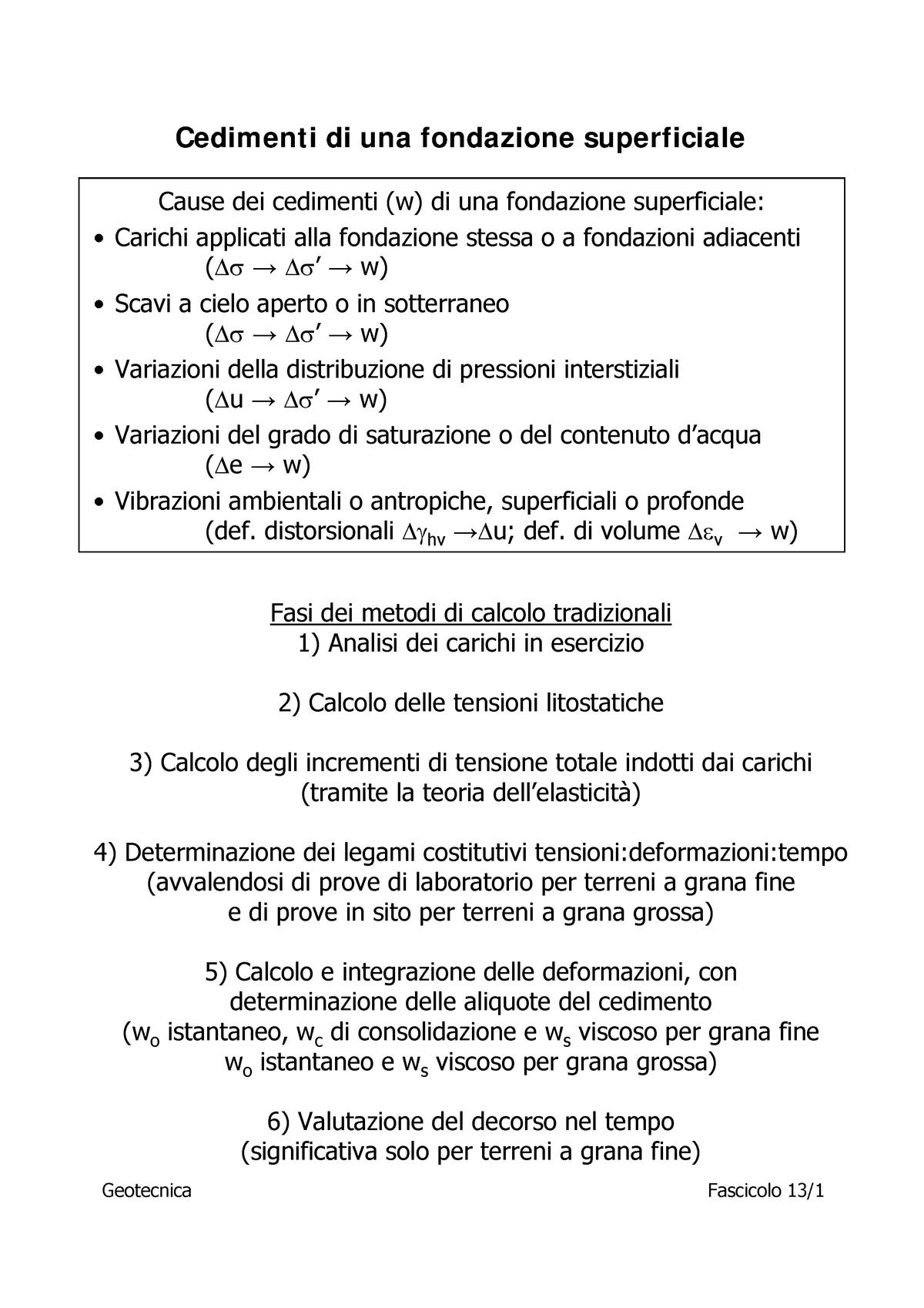 Calcolo Dei Cedimenti Di Fondazioni Superficiali.13 Cedimenti G Geotecnica Soil Mechanics Unibas Studocu