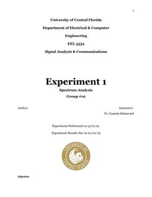 Spectrum Analysis Lab 1 - EEL 3552C : Signal Analysis and Analog