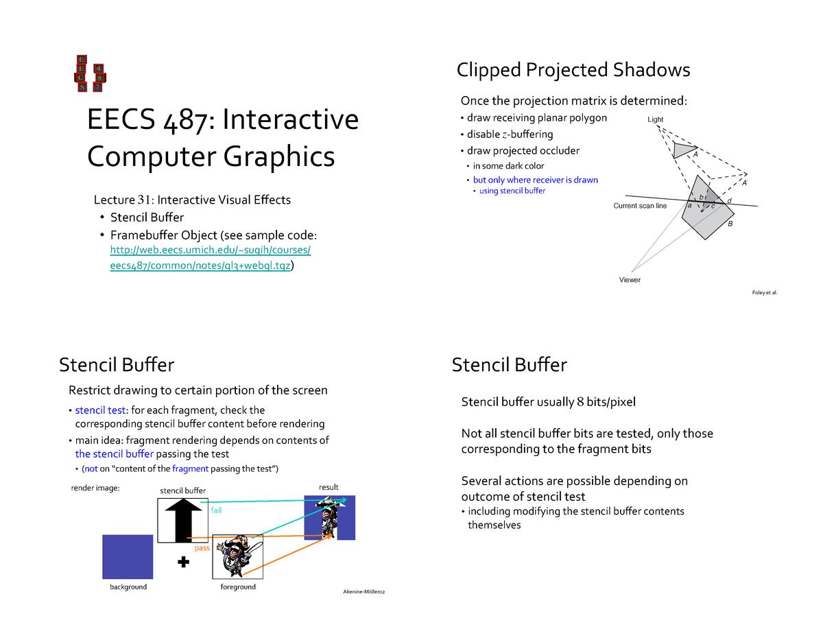 31-Stencil+FBO EECS 487 Interactive computer graphics - CS