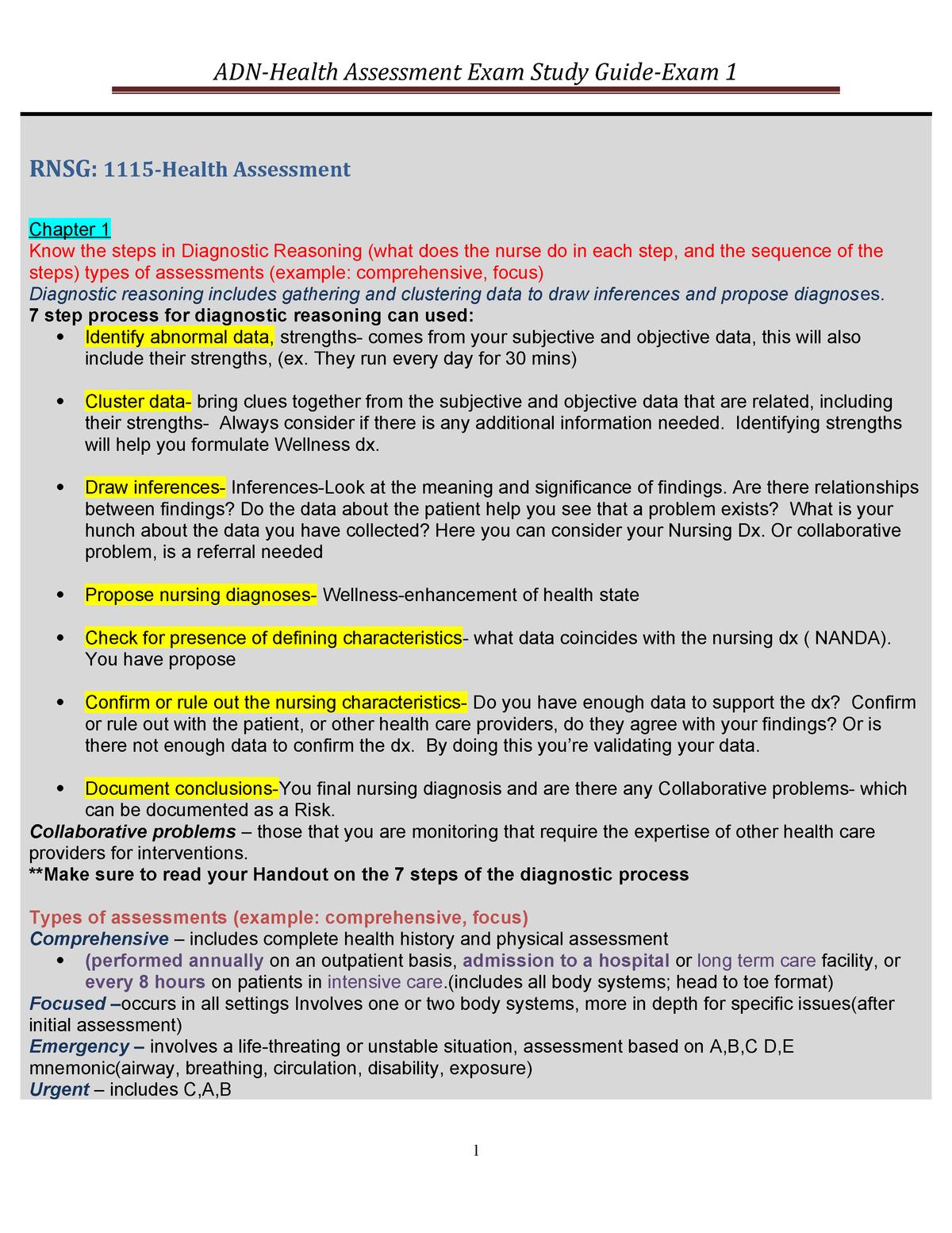 ADN Transition Exam Study Guide Exam 1 - NURS 3311 - UH