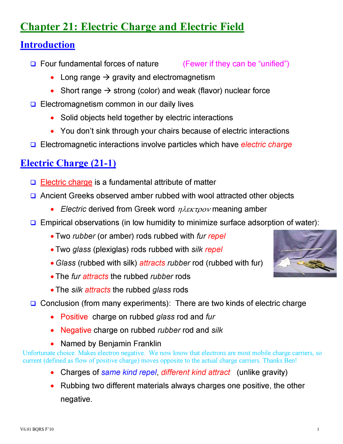 Lecture notes, Chapter 21: Electric Charge and Electric