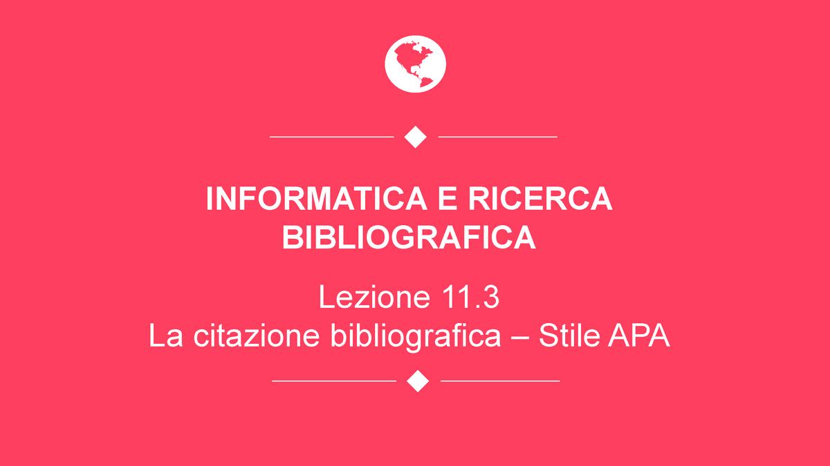 Appunti Su Citazione Bibliografica E Stile Apa Corso Di