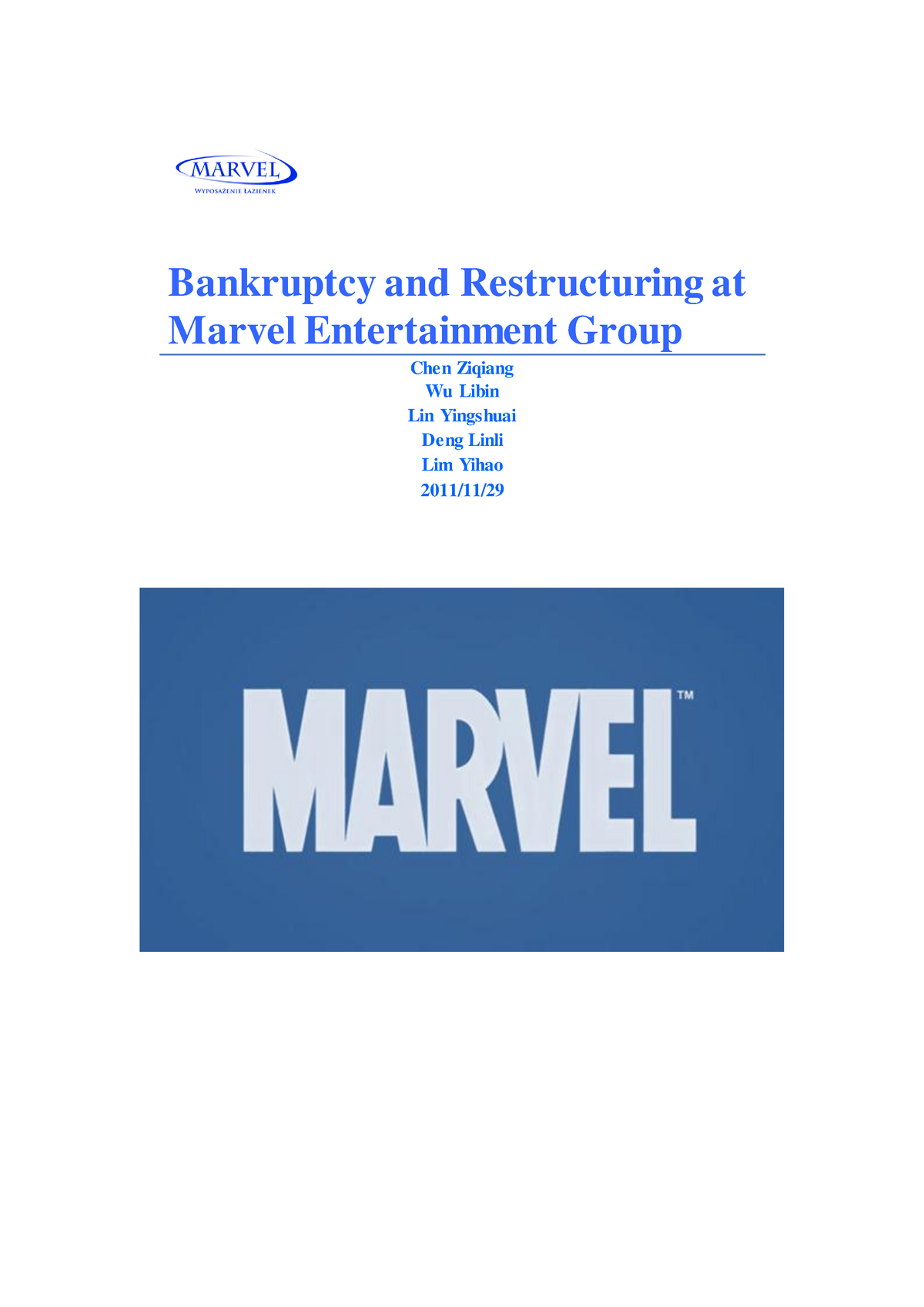 why did marvel file for chapter 11