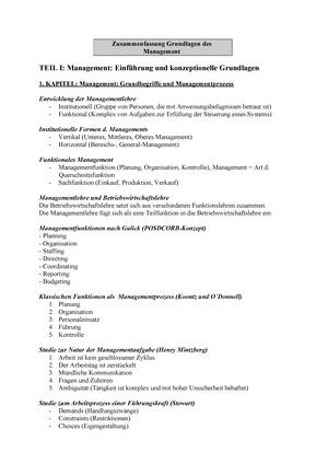 Buchzusammenfassung Schreyöggkoch 2014 Grundlagen Der