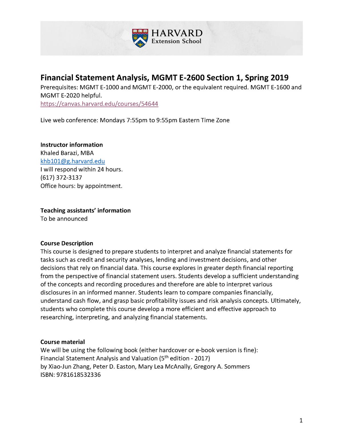 MGMT E-2600 Syllabus Spring 2019 - HBSMBA 1306 - StuDocu