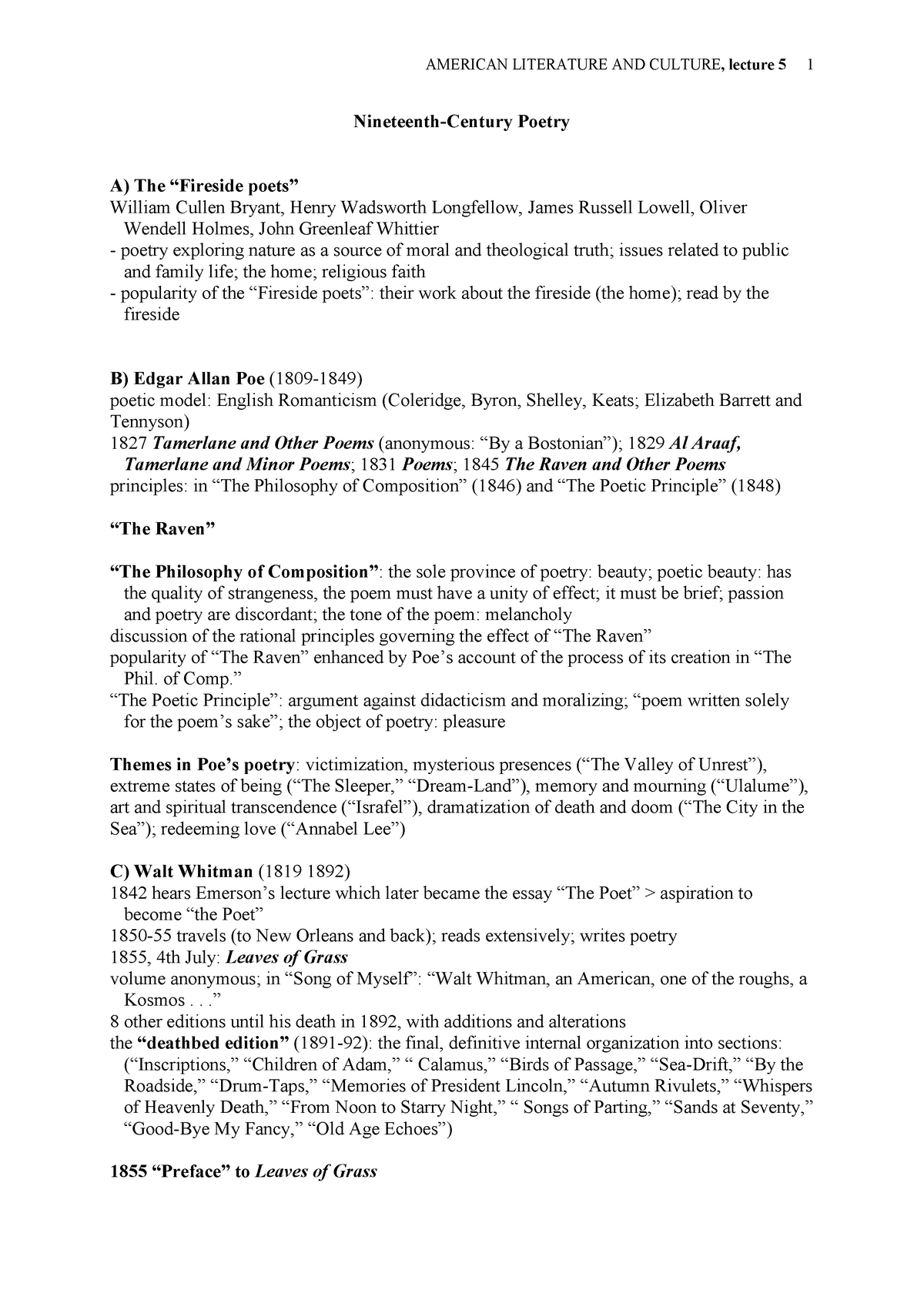 5 Nineteenth Poetry - Lecture notes 5 - ABNB090101 - PTE